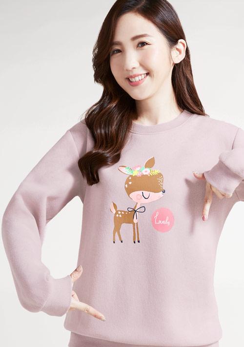 花圈麋鹿刷毛T恤