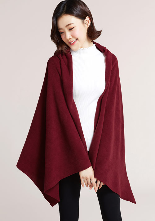 Fleece連帽斗篷圍巾