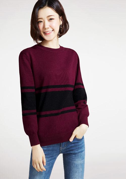配色寬版針織衫