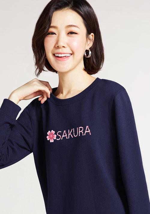 SAKURA印花毛圈圓領衫