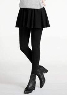 +5度磨毛坑條圓裙發熱褲