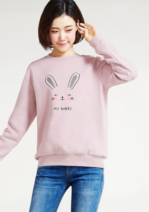 My Bunny印花刷毛T恤