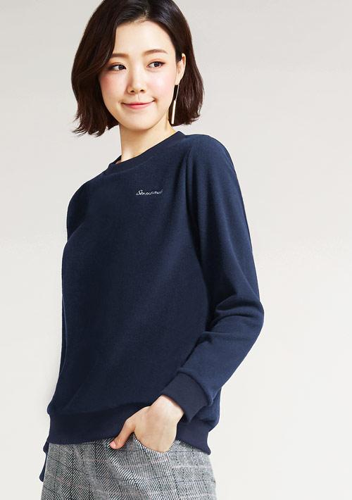 Fleece文字電繡圓領衫
