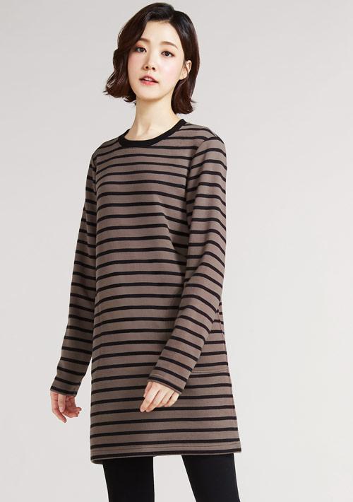 圓領條紋長版刷毛衫