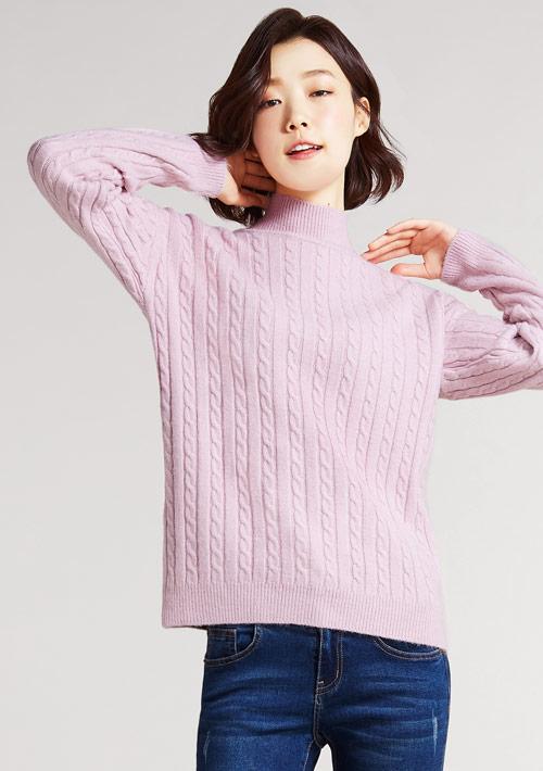 小高領麻花針織衫