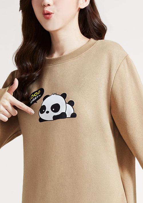 早晚安熊貓印花刷毛T恤