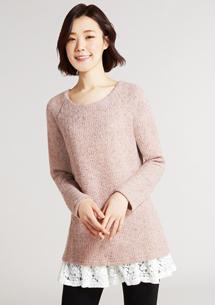 假兩件混色針織毛衣