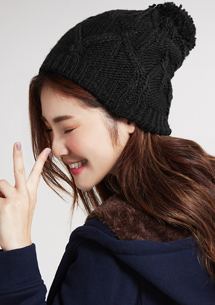 毛球加絨針織帽