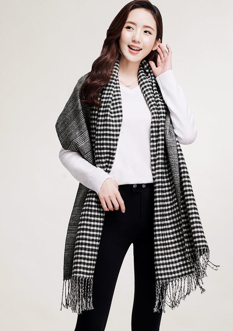 格紋羊絨圍巾