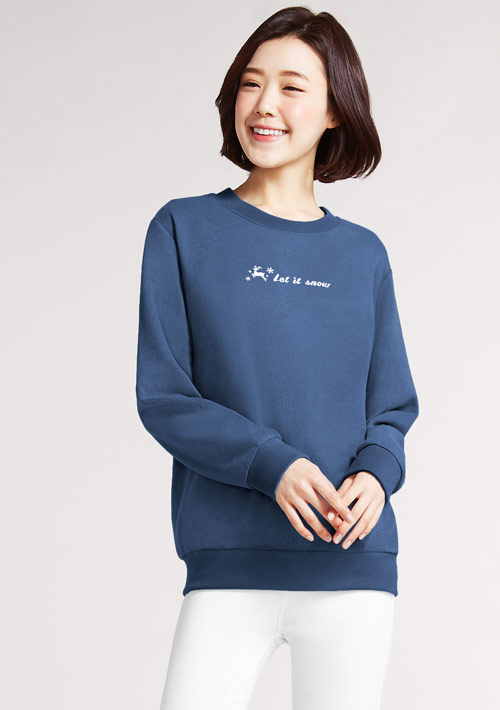雪花麋鹿印花刷毛T恤