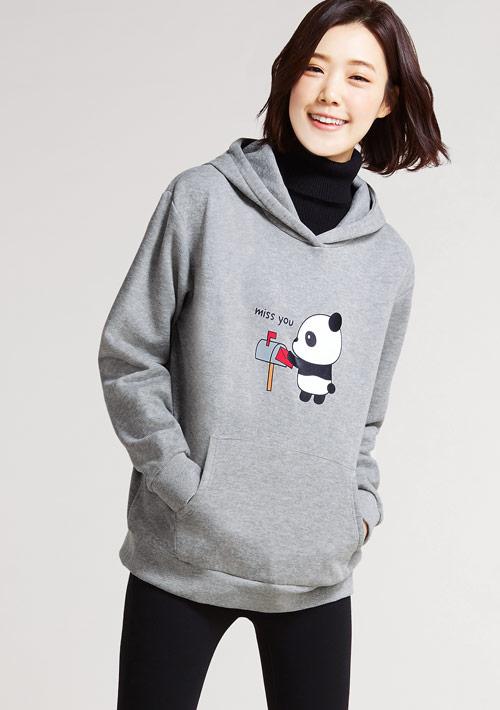 Panda miss you印花刷毛連帽T恤