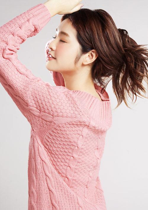 麻花針織長版毛衣