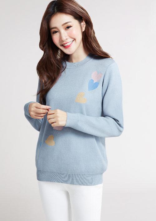 愛心刺繡針織毛衣
