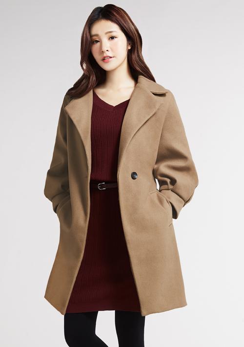 澎袖毛呢外套