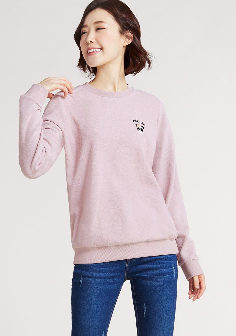 Cute cute Fleece電繡圓領衫