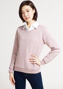 V領織紋刷毛上衣