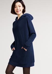 Fleece輕量保暖連帽洋裝