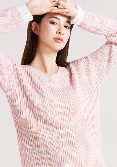 拼接袖針織毛衣