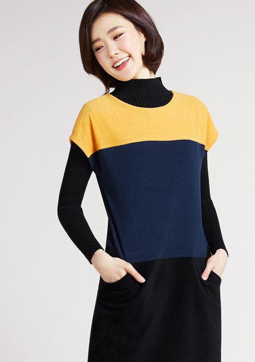 Fleece輕量保暖配色長版上衣