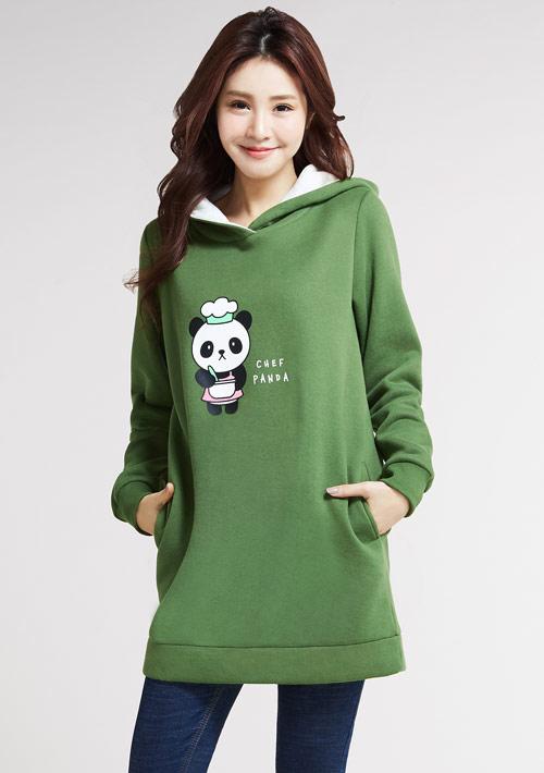 廚師熊貓刷毛長版連帽衫