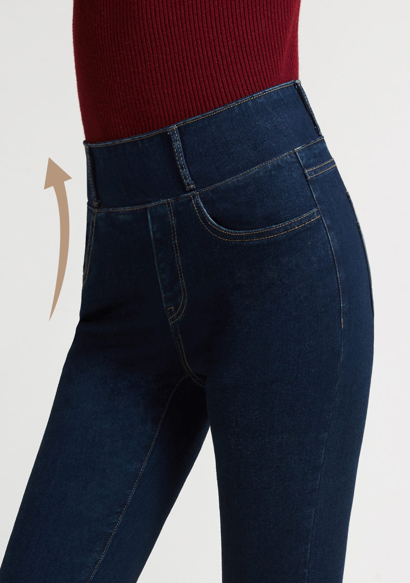 磨毛收腹牛仔褲