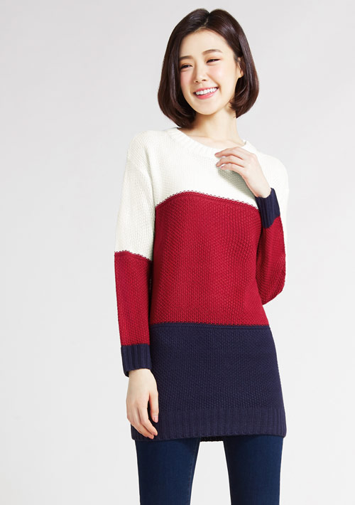 配色長版毛衣