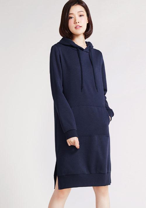 刷毛連帽側開衩長版洋裝