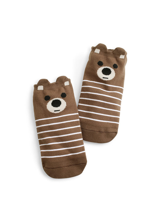 熊熊立體耳朵條紋短襪