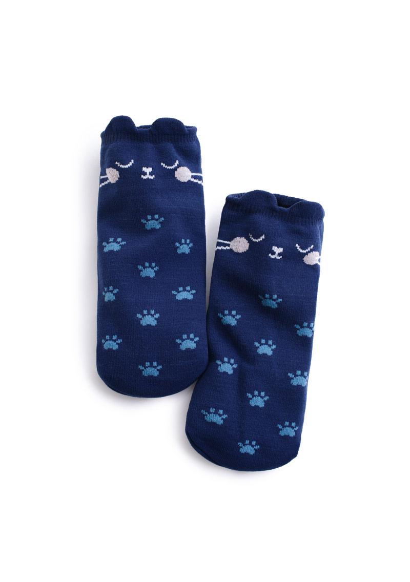 貓腳印立體耳朵造型短襪