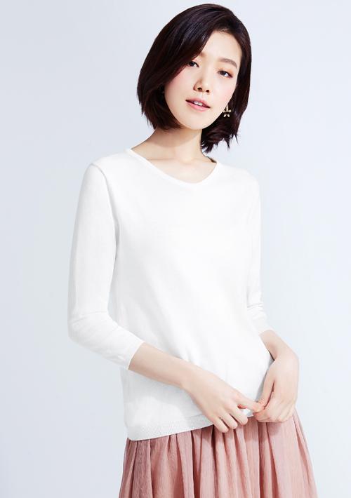 V領七分袖針織衫