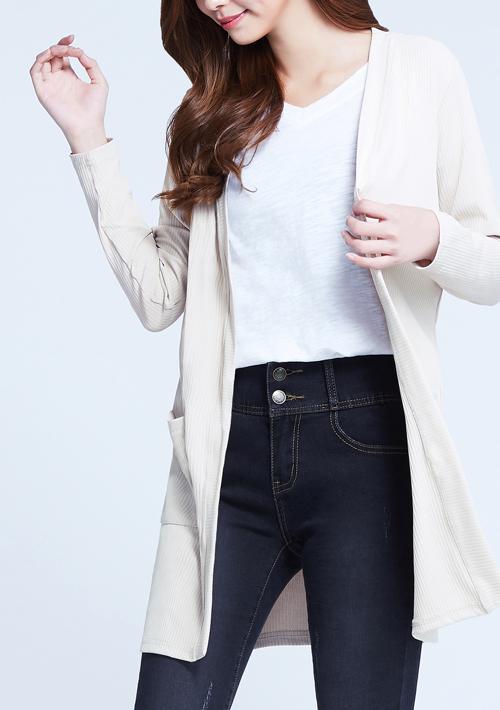 坑條長版外套