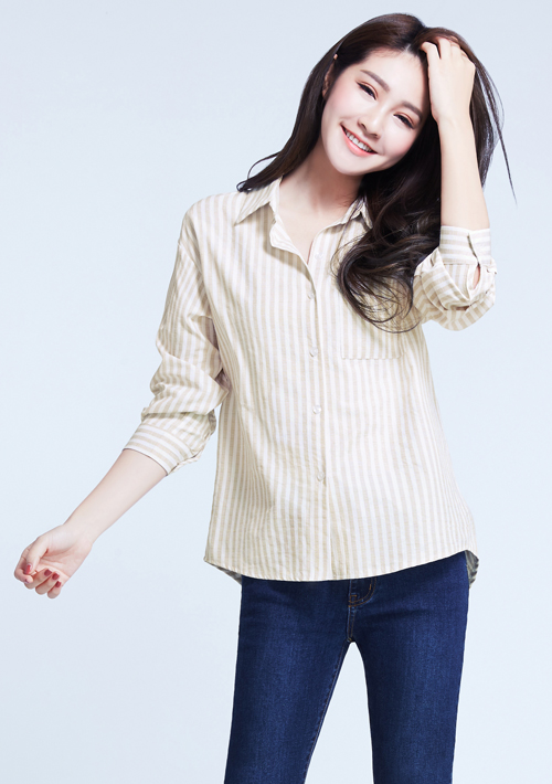 條紋寬版襯衫