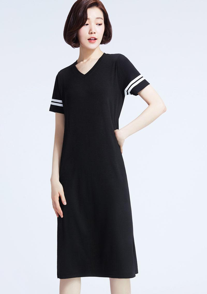 特級四面彈性印花條紋袖V領洋裝