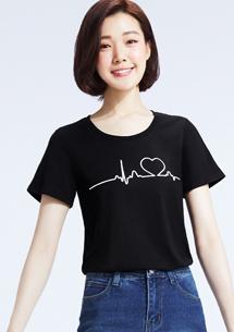 愛的心電圖純棉印花圓領T恤