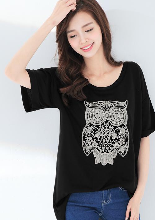 貓頭鷹刺繡寬版上衣