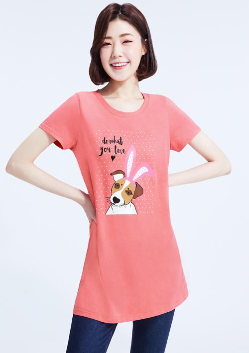 寵物文字純棉印花圓領長版衫