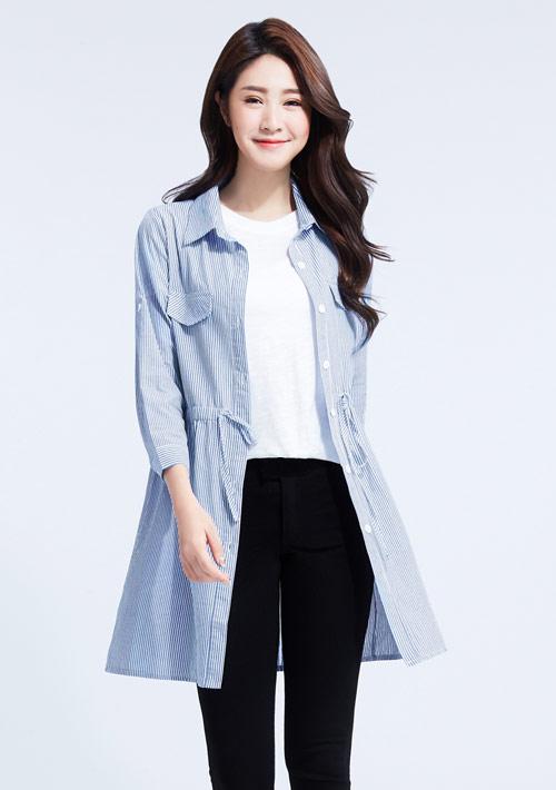 棉質束腰長版襯衫