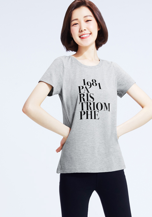 特級四面彈性文字印花圓領T恤