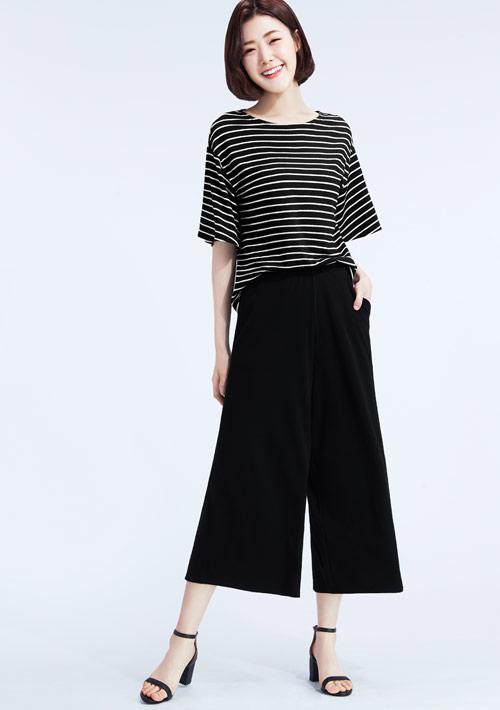 特級四面彈性條紋寬褲套裝