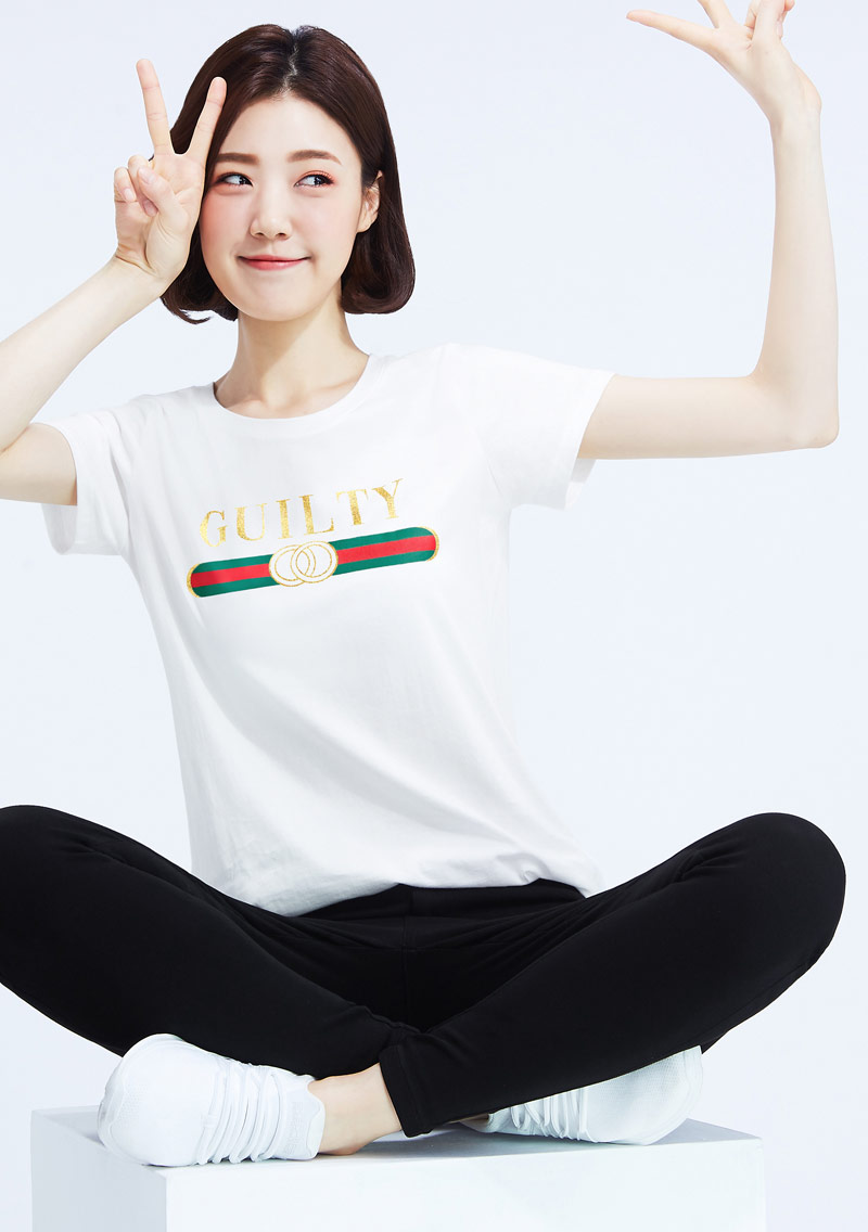 時尚經典條紋純棉印花圓領T恤