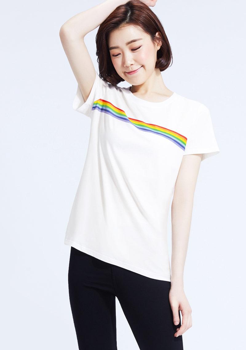混色橫條紋純棉印花圓領T恤