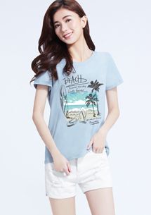 海灘假期純棉印花圓領T恤