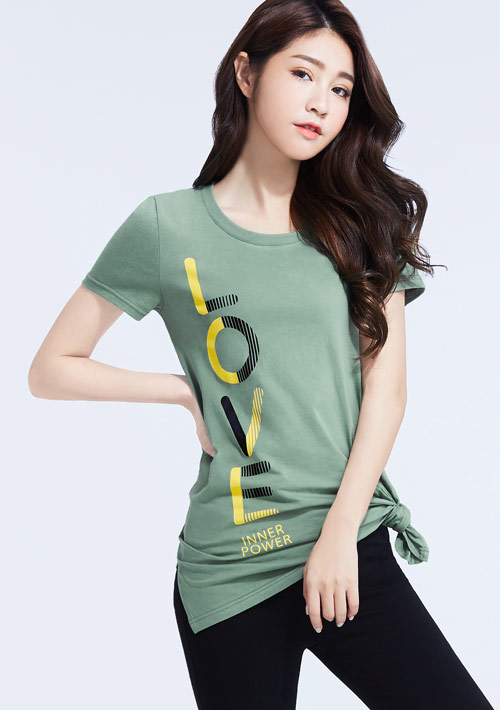 勵志標語純棉印花長版衫