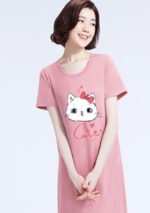 特級四面彈性Q貓咪印花圓領洋裝