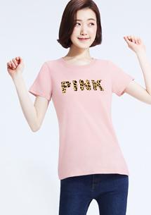 豹紋字母純棉印花圓領T恤