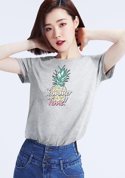 夏季鳳梨純棉印花圓領T恤