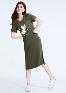 特級四面彈性邦妮兔印花圓領洋裝