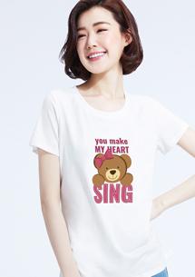 可愛泰迪熊純棉印花T恤