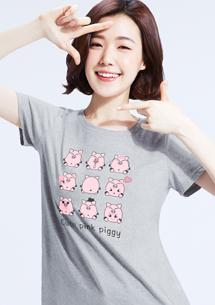 超人氣粉紅豬純棉印花圓領T恤