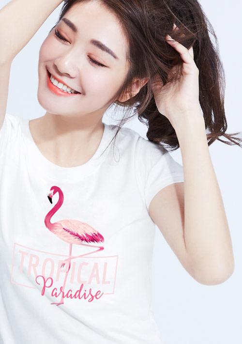 紅鶴鳥純棉印花圓領T恤